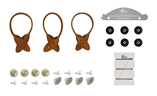 Wiseguy - Juego de botones y aros de piel para tirantes con botones de martillo