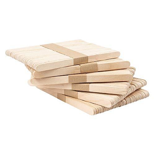 Lot de 300 bâtonnets en bois - Spatule en bois - 14 cm de long - 1 cm de large - Idéal pour le bricolage, la cire et la glace