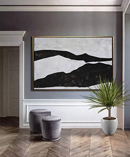 ZXJYH handgeschilderd olieverfschilderij kunstwerk op canvas, grote geometrische kunst horizontale schilderij muurkunst canvas schilderwerk, moderne kunst zwart wit minimalistische kunst voor woonkamer decoratie 70×140cm(28×56 inch)