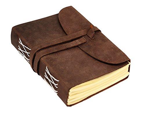 Cuaderno de escritura hecho a mano – cuaderno de notas de piel vintage envejecida, diario para hombres y mujeres, encuadernado, cuaderno de dibujo, diario de viaje, para escribir, libro de regalo.