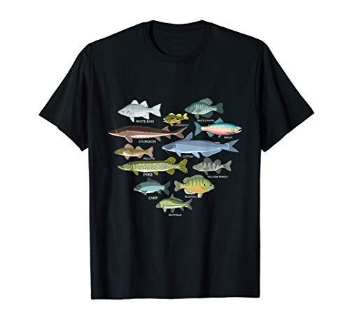 freshwater fish identification heart shape Species Fishing Camiseta