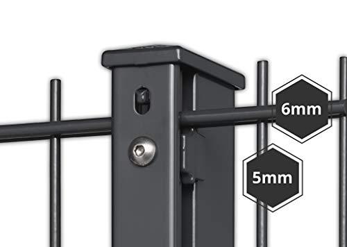 Doppelstabmattenzaun Komplett Set - Höhe: ca. 1830 mm - Farbe: anthrazit RAL 7016 - stabile 6/5/6 Gittermatte inkl. Pfosten (Maße: ca. 2400 x 60 x 40 mm) - Länge: ca. 12,50 m - inkl. Lieferung