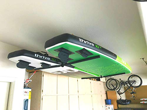"""StoreYourBoard Double SUP & Surf Ceiling Storage Rack, Hi Port 2 Overhead Hanger Mount, Home & Garage 7 DOUBLE SUP CEILING STORAGE: Two-sided overhead rack holds 2 paddleboards for space-efficient storage! HEAVY-DUTY STEEL: Built to hold up to 150 lbs (75 lbs per side), that's multiple boards at home, garage, or paddle shop. ADJUSTABLE HEIGHT: Adjust the center column adjust from 10"""" to 18"""" tall to provide you exactly the storage thickness that fits your space and storage needs; remove the arms with the push of a button."""