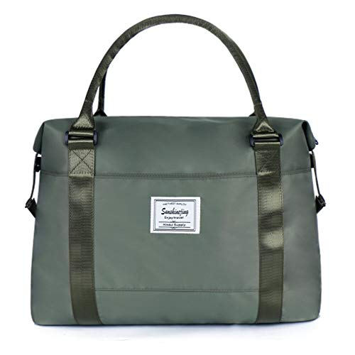Unisex Large Travel Shoulder Weekender Overnight Bag Handbag Gym Tote Bag with Trolley Sleeve (Army Green)