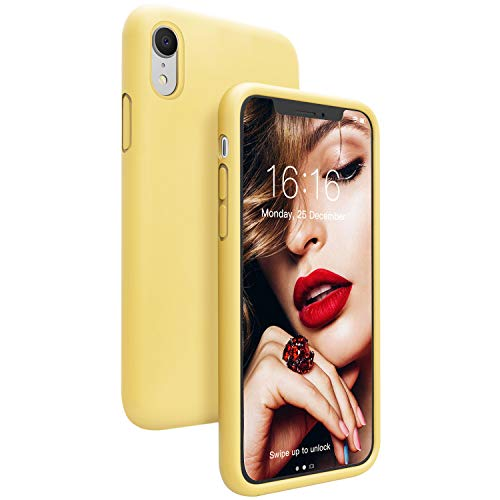 JASBON Case for iPhone XR, Soft Liquid Silicone iPhone XR Case with Raised Edges Cover for iPhone XR-Yellow