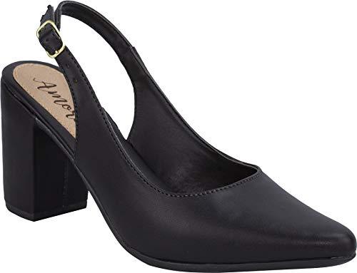 Sapato Scarpin Chanel Confort Salto Baixo Grosso Sintetico Preto 138
