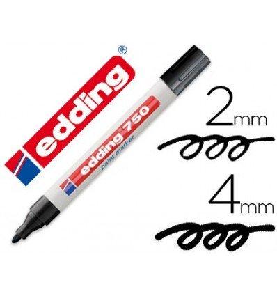 Edding - Rotulador punta fibra 750 negro punta redonda 3