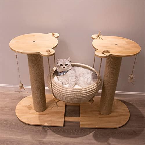 YSJJNDH Árbol para Gatos Madera SÓLIDA Ratan CESTURA CESTURA CESTURA Cat NAJO Cat Cable Cable Cable Integrado Cat Juguete Cat SIBEJE DE Cat Transe TERRO Cat (Color : Combination A)