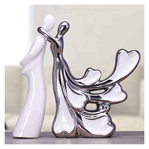 WQQLQX Statue Silber Liebhaber Mädchen Dame Statue Keramik Handwerk Kunst Skulptur Dekoration Zubehör Hochzeit Dekoration Geschenk Kollektion Figuren Skulpturen