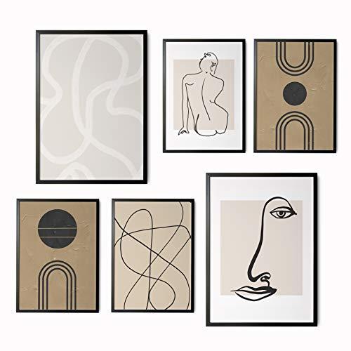 Láminas Decorativas para salón, Comedor, habitación, Dormitorio, Pasillo. Set de 6 Posters Modernos DIN A3 y DIN A4. Sin Marco. Arte Abstracto.