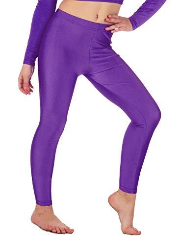 Re Tech UK - Mädchen Leggings - für Gymnastik, Tanzen & Ballett - glänzend - elastisch - Lila - 5-6 Jahre