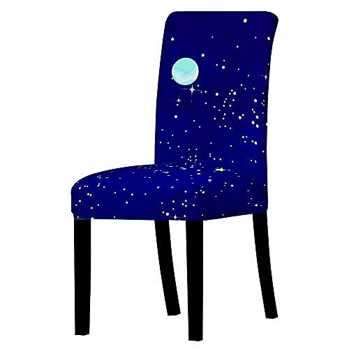 Stuhlbezug 4Er Set - 3D Gedruckter Blauer Elastischer Spandex Abstrakter Goldener Starlight - Stuhlbezug - Weicher Stuhl - Schutzkasten Mit Hoher Rückenlehne Für Restaurant - Hochzeits - Home - Part