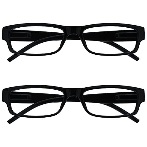 The Reading Glasses Company Gafas De Lectura Negro Ligero Cómodo Lectores Valor Pack 2 Estilo Diseñador Hombres Mujeres Uvr2Pk032 +2,00 2 Unidades 70 g