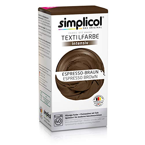 simplicol Fabric Dye Intensive Espresso brown: Washing Machine Dye Kit for Clothes & Fabrics, Contains Liquid Dye & Dye Fixative - Textile Dyeing Safe For You & Your Washing Machine