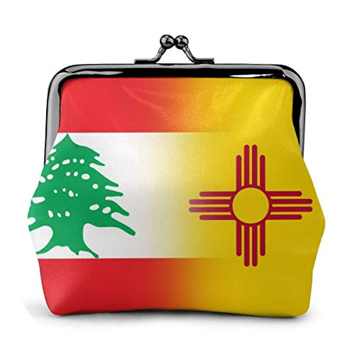 Monedero de cuero con hebilla de la bandera del Líbano y Nuevo México