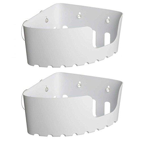 Sanixa TA4520301 2er Set Eck-Duschregal Weiß | ohne Bohren | Saugteller | Wannenablage |Kunststoff Duschkorb Dusch-Ablage Eckregal Aufbewahrungskorb
