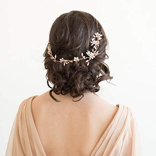 Zoestar Blumen-Braut-Haarreif, silberne Kristall-Stirnbänder, Strass-Blatt, Kopfschmuck, Braut-Haarschmuck für Frauen und Mädchen