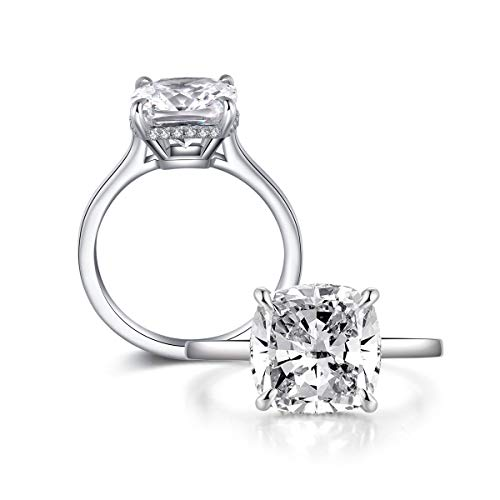 AINUOSHI 5 Carats Cushion Cut Cubic Zirconia Engagement Wedding Ring Women's Jewelry Platinum Plated Anniversary Rings Size 5-8 New Jersey
