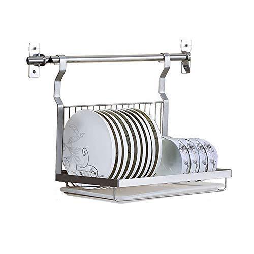 Scaffale da cucina Cestello di Scarico in Acciaio Inox 304 per Piatti Parete | Stendibiancheria 85 ° con Asta Sospesa da 50 Cm