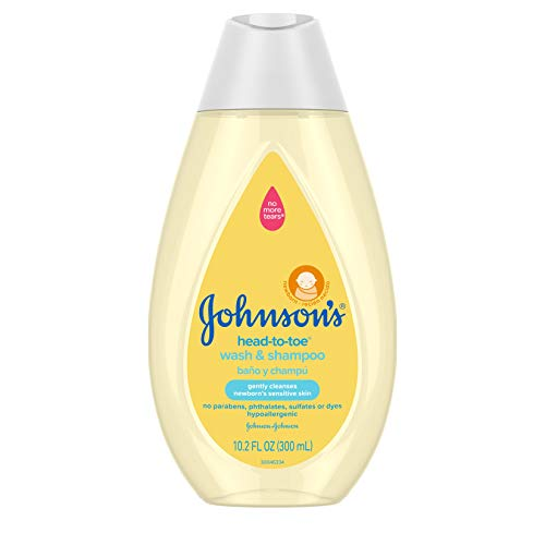 Johnson's Head-To-Toe Gentle Baby Body Wash & Shampoo, Tear-Free, Sulfate-Free & Hypoallergenic Bath Wash & Shampoo for Baby's Sensitive Skin & Hair, Washes Away 99.9% Of Germs 10.2 fl. oz