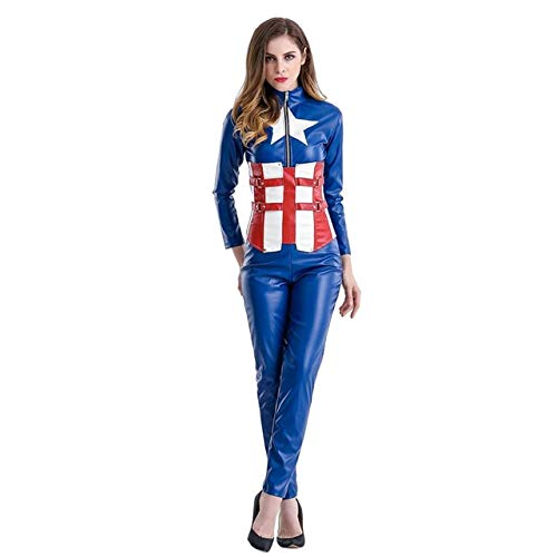 BCOGGCaptain America Kostüm Halloween Kostüm für Frauen Endspiel Cosplay Superheld Quantum Anzug Batman Cos Captain Frauen Body XL Lederoverall