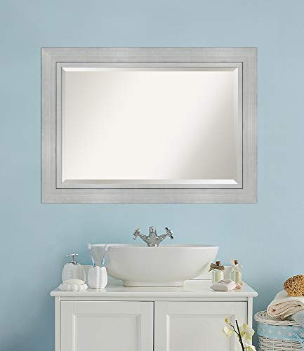 Framed Vanity Mirror | Bathroom Mirrors for Wall | Romano Silver Mirror Frame | Solid Wood Mirror | Large Mirror | 31.25 x 43.25 in.
