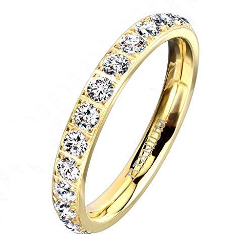 Paula & Fritz® Ring Damen Zirkonia Titan-IUM Größe 57 (18,1) Gold Freundschaftsring Partnerring Ehering Verlobungsring Memoire-Ring Frauenring Damenring