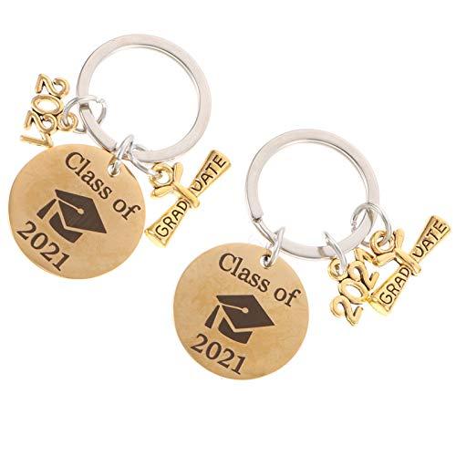 VALICLUD Graduação 2Pcs Classe de 2021 Chaveiro de Aço Inoxidável Chaveiro Decorativo Chave Titulares Bag Pingente 2021 Graduação Party Favor Presentes Ouro