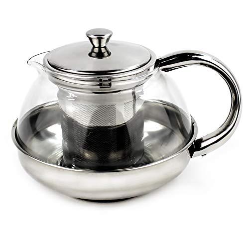 Furein Teiera multiuso in vetro trasparente e acciaio inox, per tè, infusi o caffè con filtro 600ML