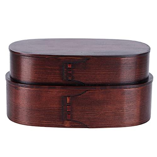 Contenedor de almacenamiento de alimentos de madera Fiambrera de madera Contenedor de almacenamiento de alimentos Bento de madera de estilo japonés 19x10x9.5cm(B)