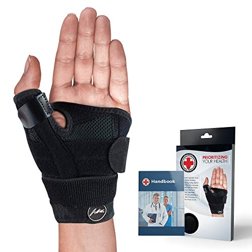 Doctor Developed Thumb Brace / Thumb Support / Thumb Splint / Thumb Stabilizer & Doctor Written Handbook - Fully Adjustable to Fit Any Thumb & Wrist on both Right & Left Hands [Black, Single]