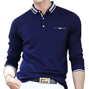 ポロシャツ 長袖 メンズ ゴルフウェア ビジネス スポーツポロシャツ 男性 ゴルフポロシャツ 秋 冬 春 ネイビー 8889BLUE-2XL