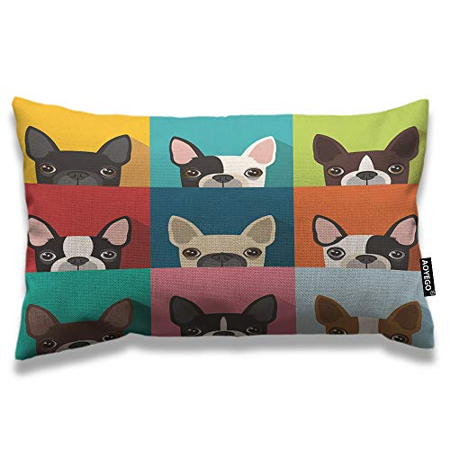AOYEGO Dog Throw Pillow Cover 12x20 Inch Boston Terrier Cute Fun Animal Cartoon Pets Dogs Head Face Rectangle Pillow Cases Home Decorative Cotton Linen Cushion Cover for Bed Sofa