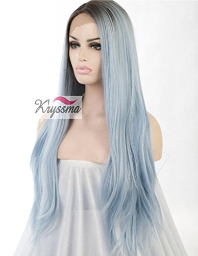 K'ryssma Women's Straight Blue Ombre Hair Dark Roots Long Synthetic Lace Front Wigs Half Hand Tied Heat Safe 24 inches