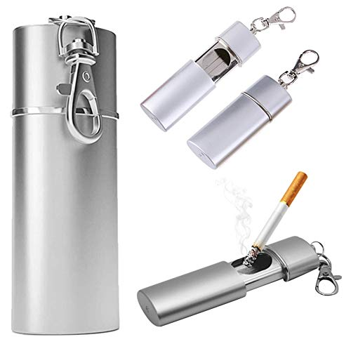 携帯灰皿 メンズ キーホルダー スライド カラビナ付 防水 持ち運び におわない 合金 アウトドア 灰皿 携帯用 軽量 持ち便利