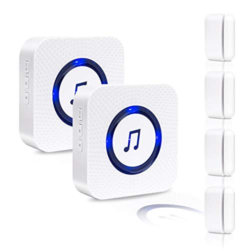 SanJie Wireless Door Open Chime Entry Alert Chime Door Sensor Alarm For Business Home Store 55 Ringtones 5 Volume Level 2 Receiver 4 Magnetic Door Alarm Sensors