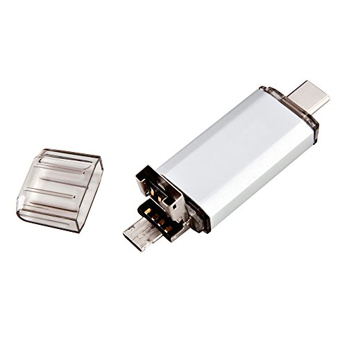 MAXINDA 3 in 1 Chiavetta USB 2.0 da 32GB Type-C e Micro USB OTG USB Stick, Argento
