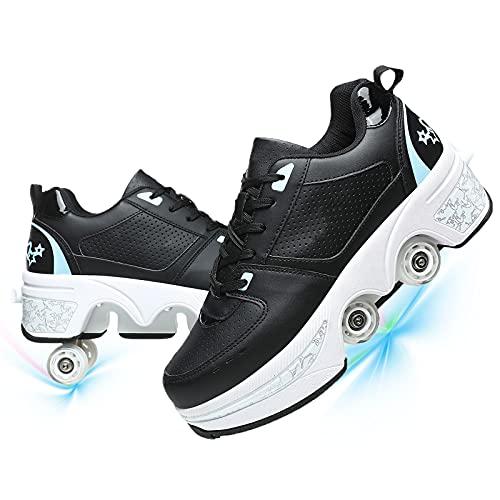 Zapatos con Ruedas para Niños Y Niña, Zapatos Multiusos 2 En 1 Patines Zapatillas Automática Calzado De Skateboarding Deportes De Exterior