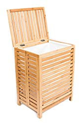 BIRDROCK HOME Folding Bamboo Hamper | Made of Natural Bamboo | Includes Machine Washable Cotton Canvas Liner