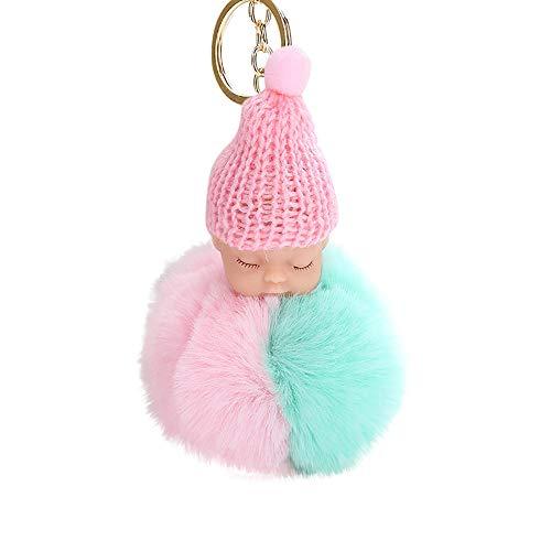 Damen-Schmuck, süßes Fell, flauschiger Pompon, schlafende Baby-Puppe, Schlüsselanhänger, Taschenanhänger, Anhänger für Ostern