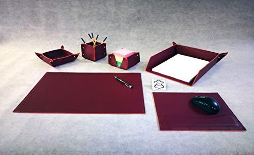 AM DESIGN PREGIATO Set SCRIVANIA in Vera Pelle - 6 Pezzi - Made in Italy - Idea Regalo (Bordeaux)