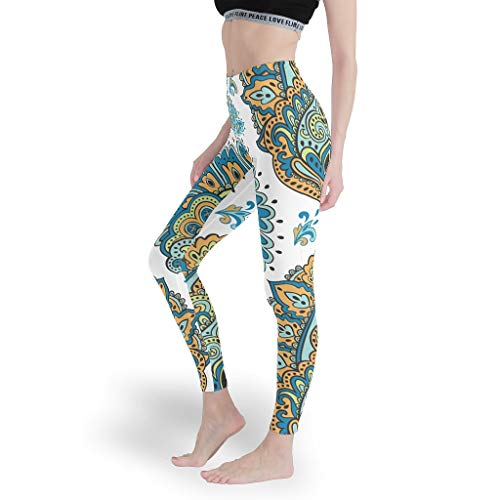 Dofeely Damen Yoga Pants Hosen Comfort Sport Leggings Lang Kompressionswirkung und Quick-Dry-Funktion Druck Streetwear S-XL White m