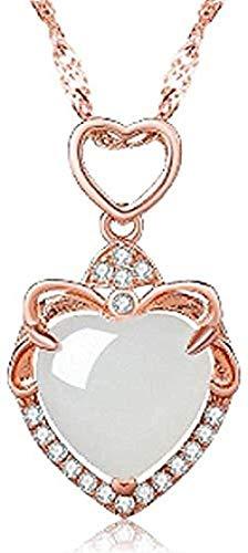 NC110 Colgante en Forma de corazón con Incrustaciones de Jade Blanco Colgante en Forma de corazón Jade Natural y Colgante floreciente de Jade hetiano