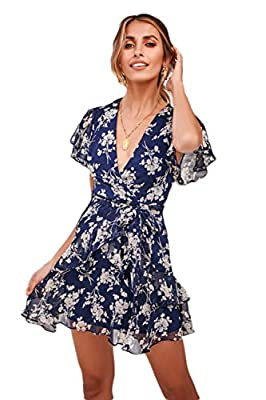 ROVLET Women's Sexy Floral Dress Long Sleeve V Neck Ruffle Boho A line Mini Dress Party Beach