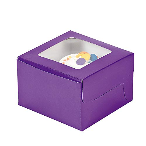 Fun Express - Purple Cupcake Boxes - Party Supplies - Containers & Boxes - Paper Boxes - 12 Pieces