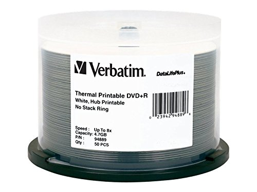 Verbatim DVD+R 4.7GB 8X DataLifePlus White Thermal Printable, Hub Printable - 50pk Spindle