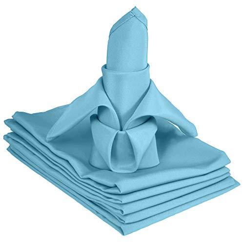 TableLinensforLess 20x20 Inch Hemmed SimplyPoly XL Cloth Napkins Set of 6 (Sky Blue)