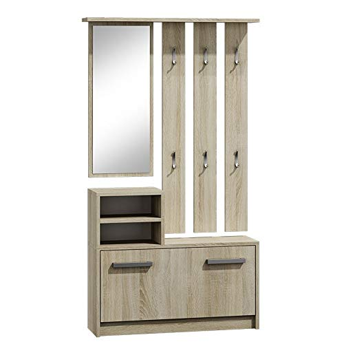 ADGO Ensemble de meubles de couloir, armoire, miroir et cintre et armoire à chaussures, 6 cintres pour vêtements et manteaux, vestiaires - Portemanteau compact pour votre entrée - Chêne Sonoma