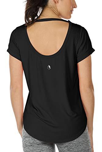 icyzone Damen Yoga T-Shirt Rückenfrei Sport Freizeit Tops Kurzarm Oberteile Loose Casual V-Ausschnitt Shirt (S, Schwarz)