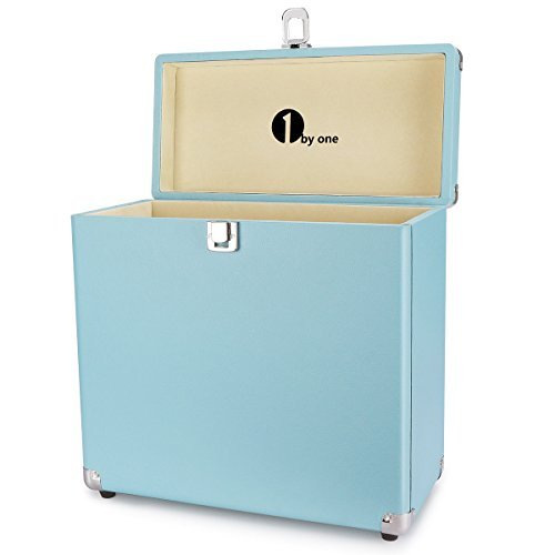 1byone Vinyl Record Storage Case for 30 Albums, Blue